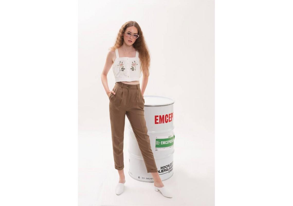 High waist linen pants