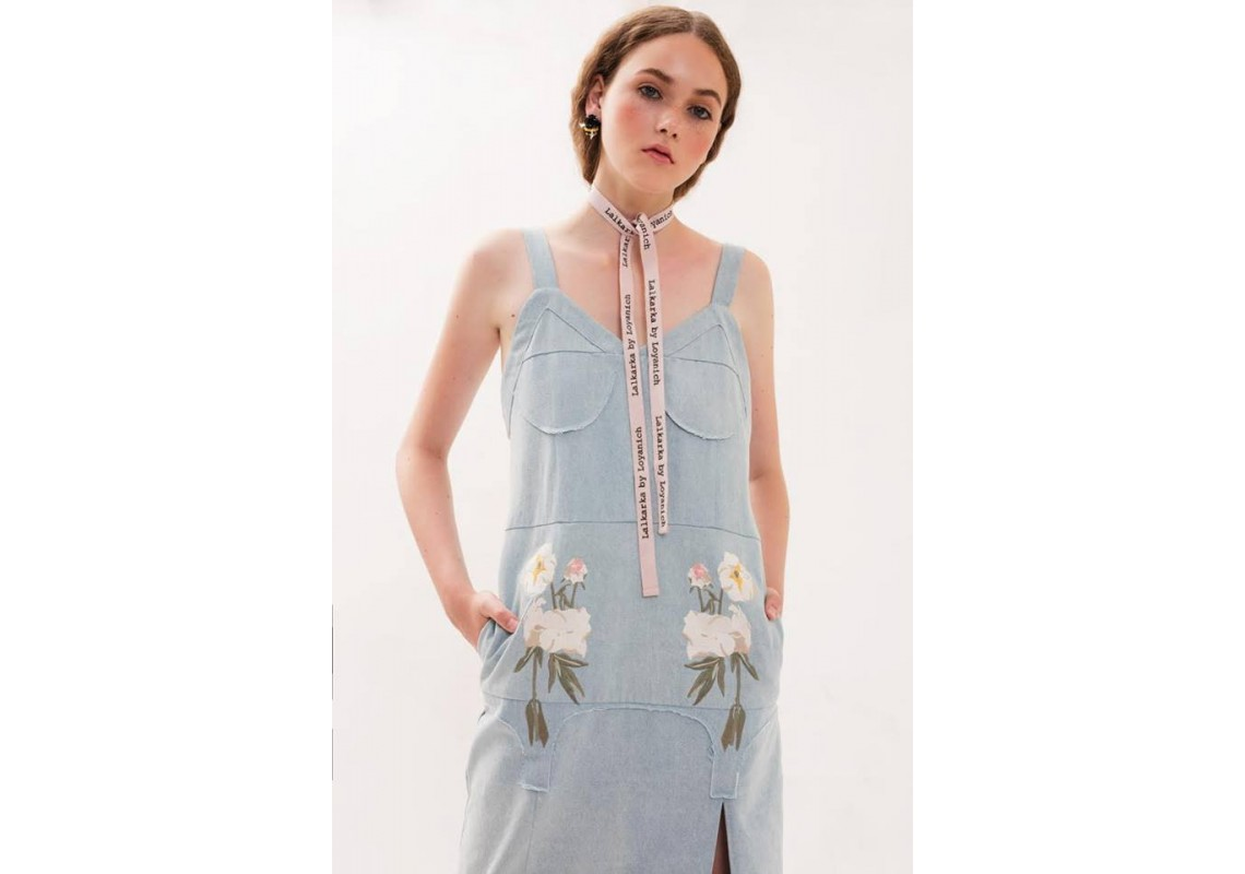 Embroidered denim long dress