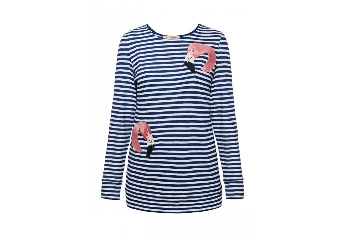 Embroidered Dark Blue Striped Sweatshirt Flamingo (Out Of Stock)