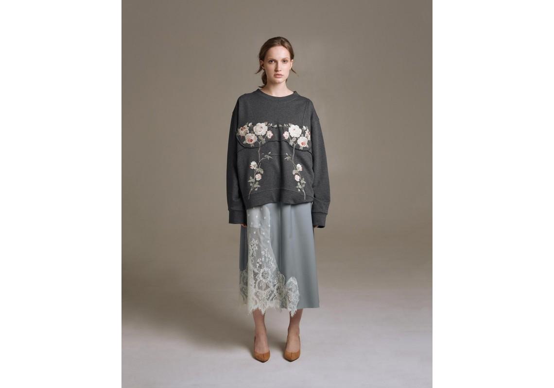 Dusty blue woolen midi skirt