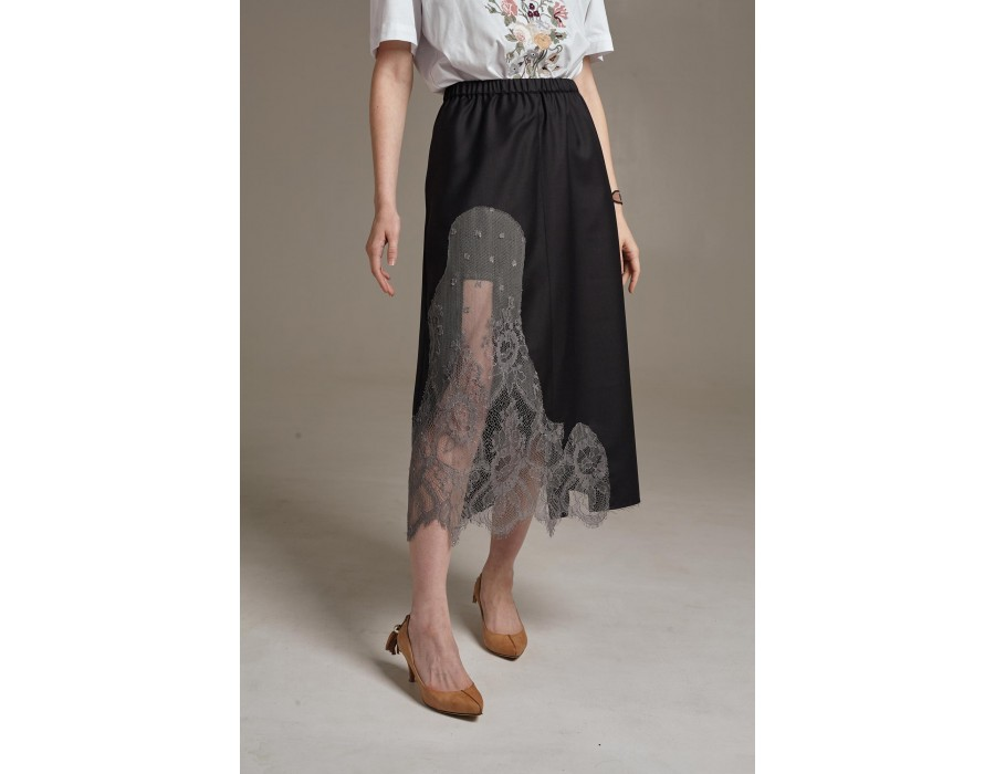 Dark brown woolen midi skirt